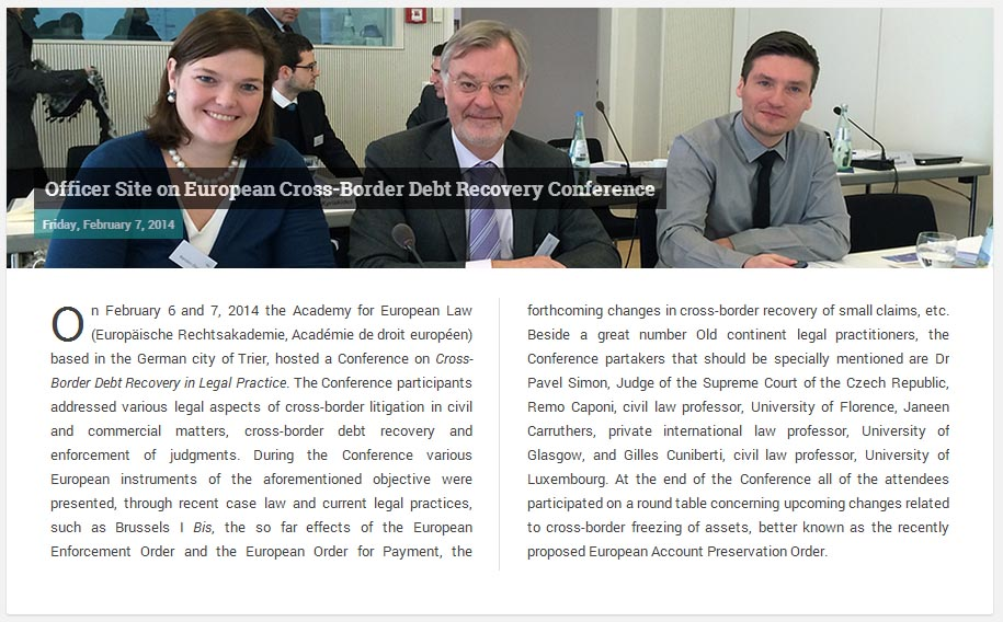 Officer site on European Cross-Border Debt Recovery Conference
